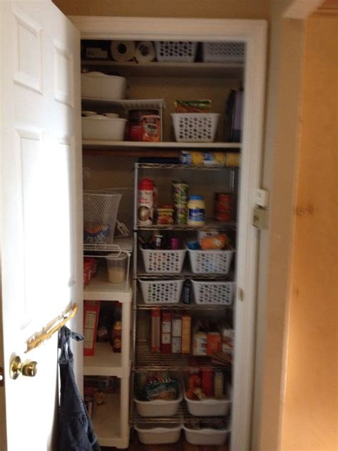 Coat closet converted into a pantry   Organizing your home
