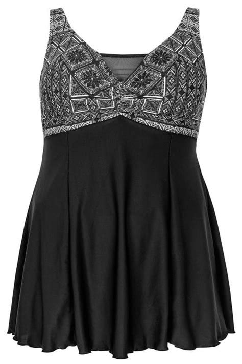 Black Printed Swimdress With Padded Cups, plus size 16 to 32