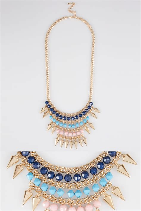 Gold, Pink Turquoise & Blue Statement Necklace